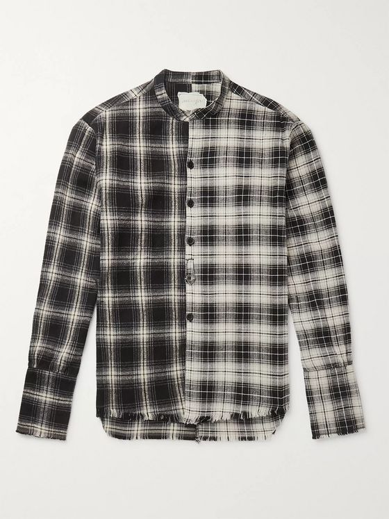 Greg Lauren Grandad-Collar Distressed Panelled Checked Cotton-Flannel Shirt