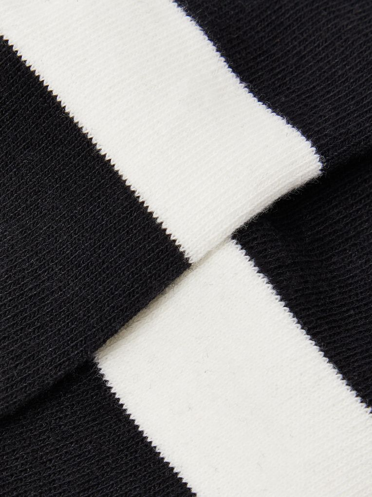 N/A Striped Cotton-Blend No-Show Socks