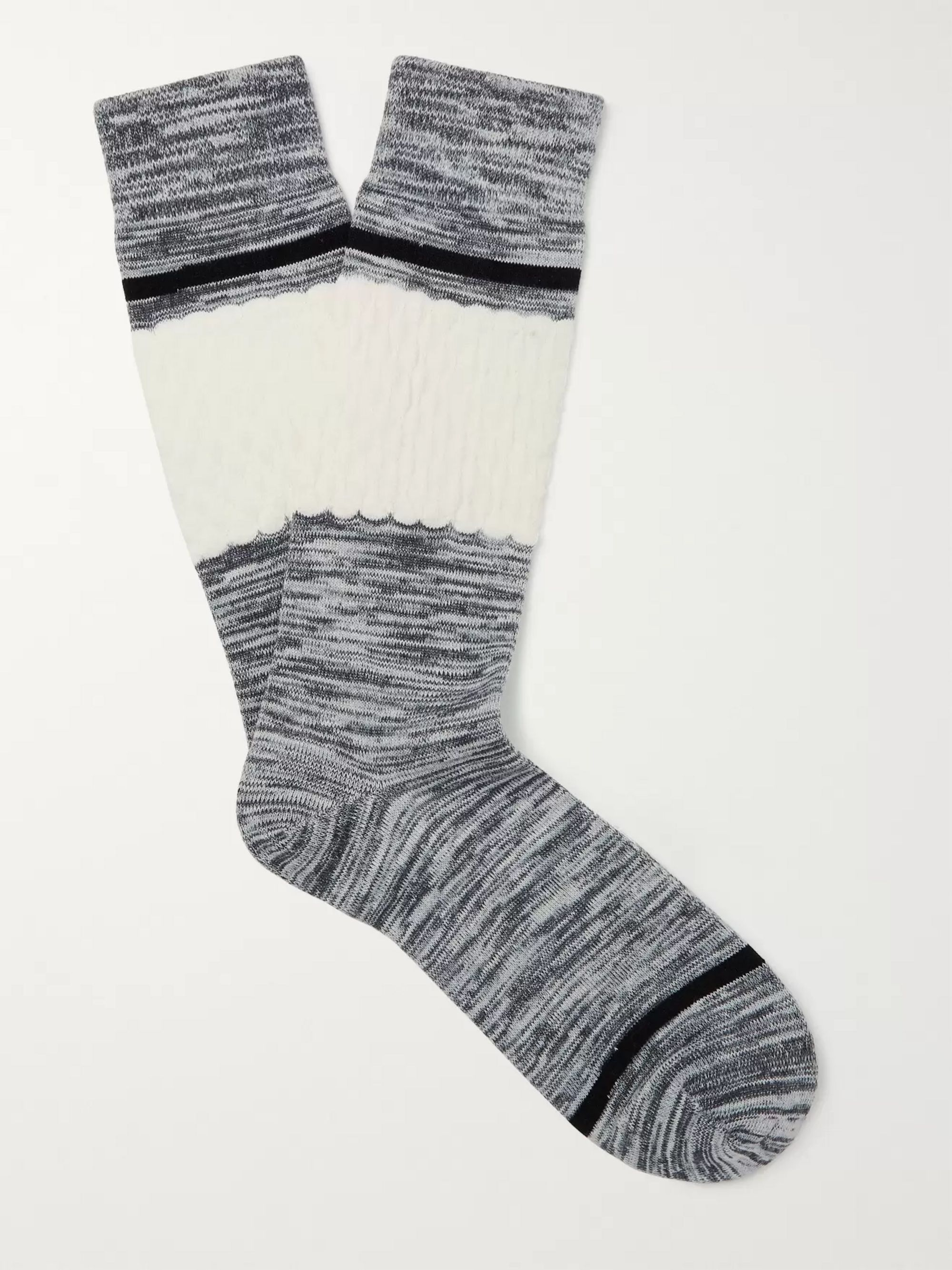 N/A Colour-Block Mélange Stretch Cotton-Blend Socks