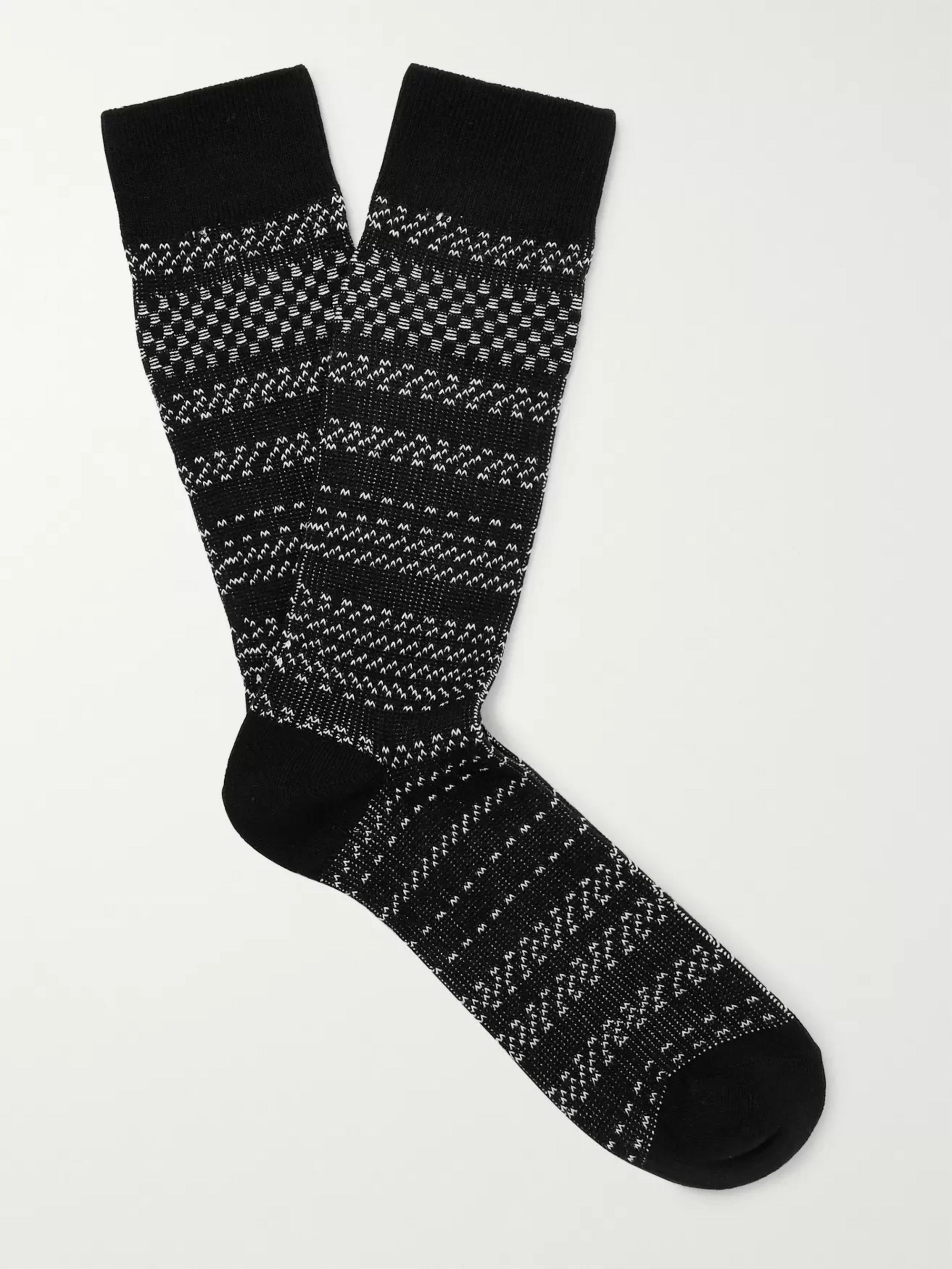 N/A Striped Birdseye Stretch Cotton-Blend Socks