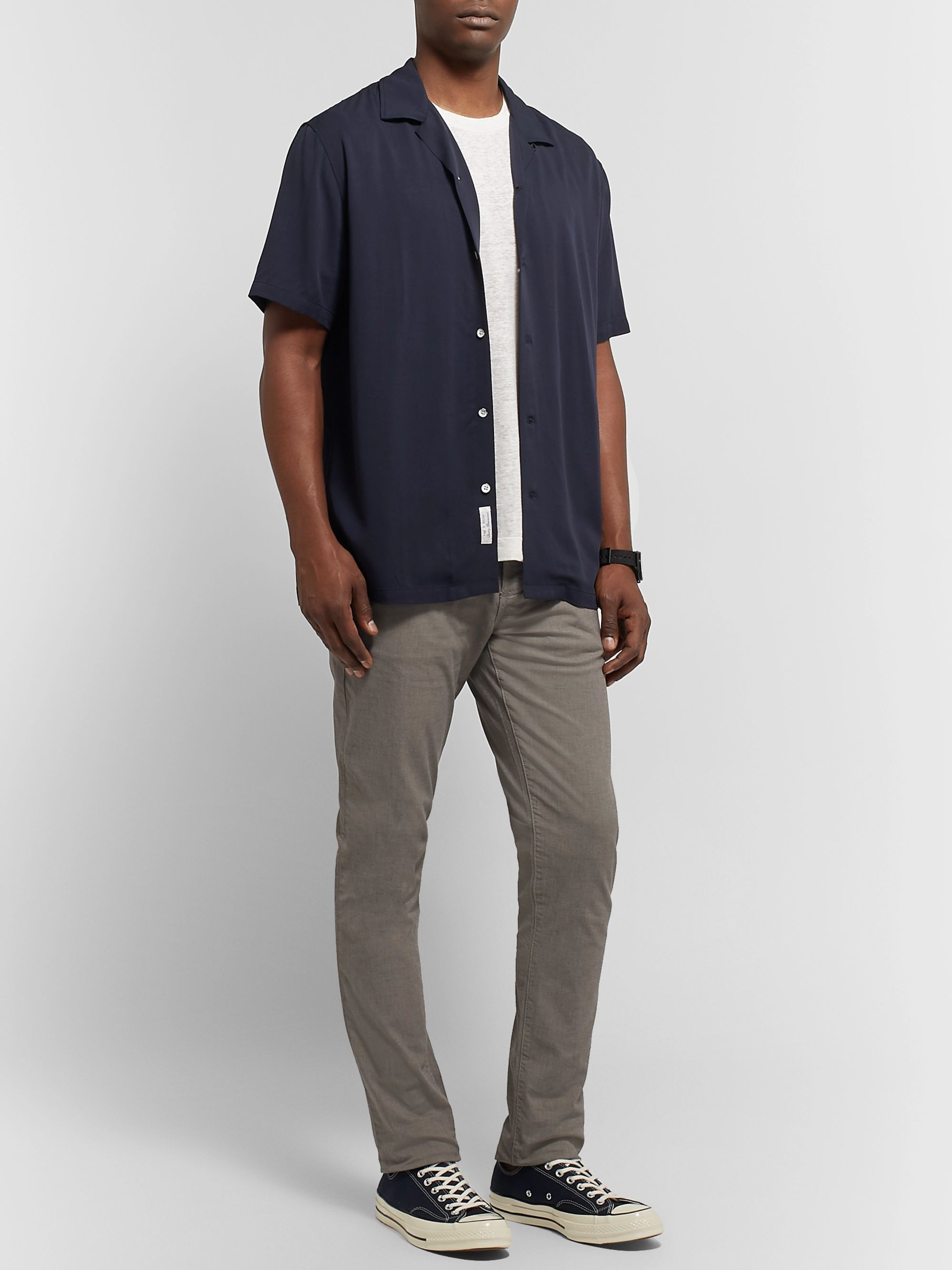 James Perse Grey Slim-Fit Pigment-Dyed Stretch-Cotton Trousers