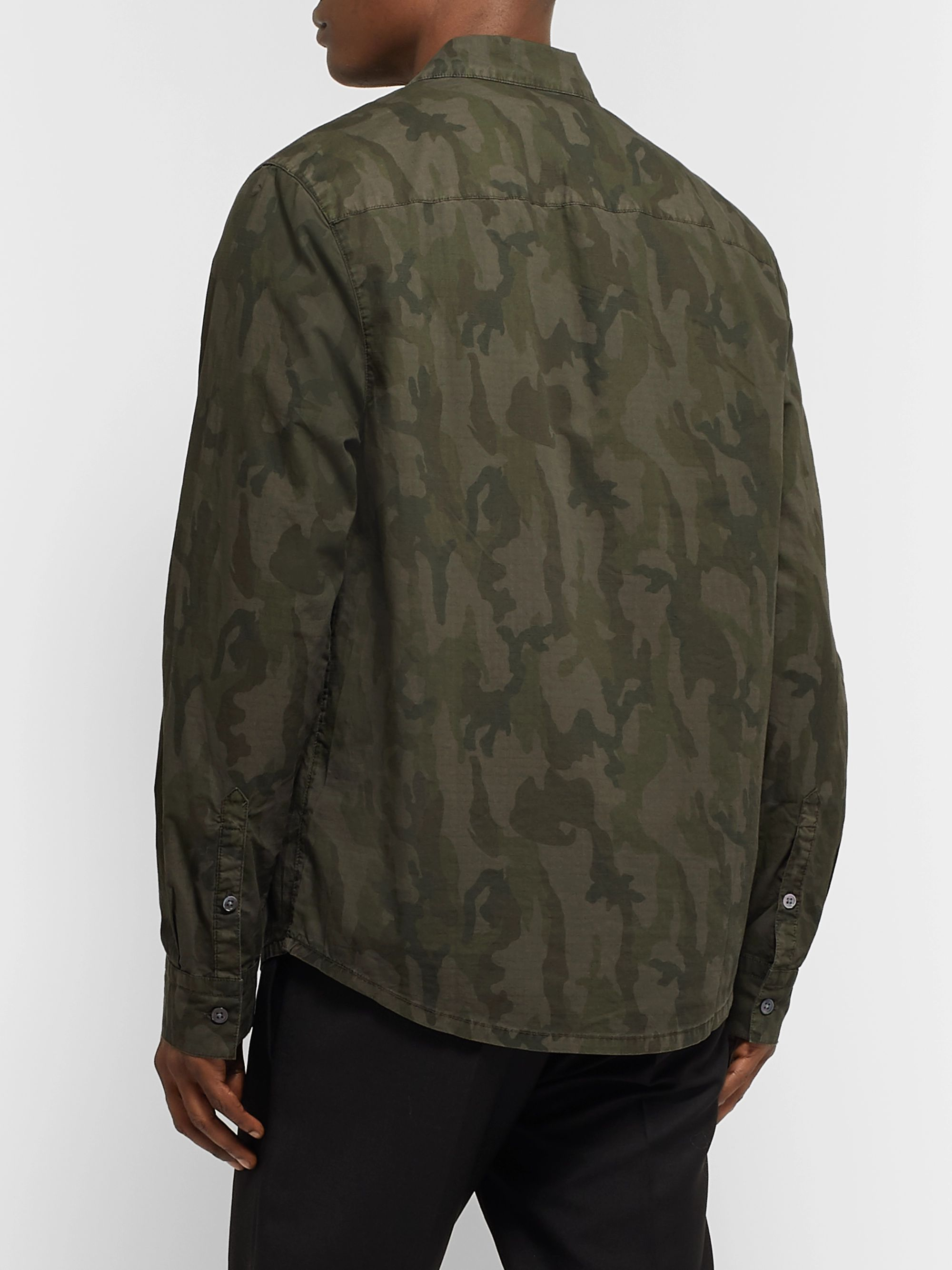 James Perse Camouflage-Print Cotton-Ripstop Shirt
