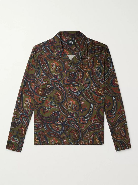 Stüssy Cypress Camp-Collar Paisley-Print Twill Shirt