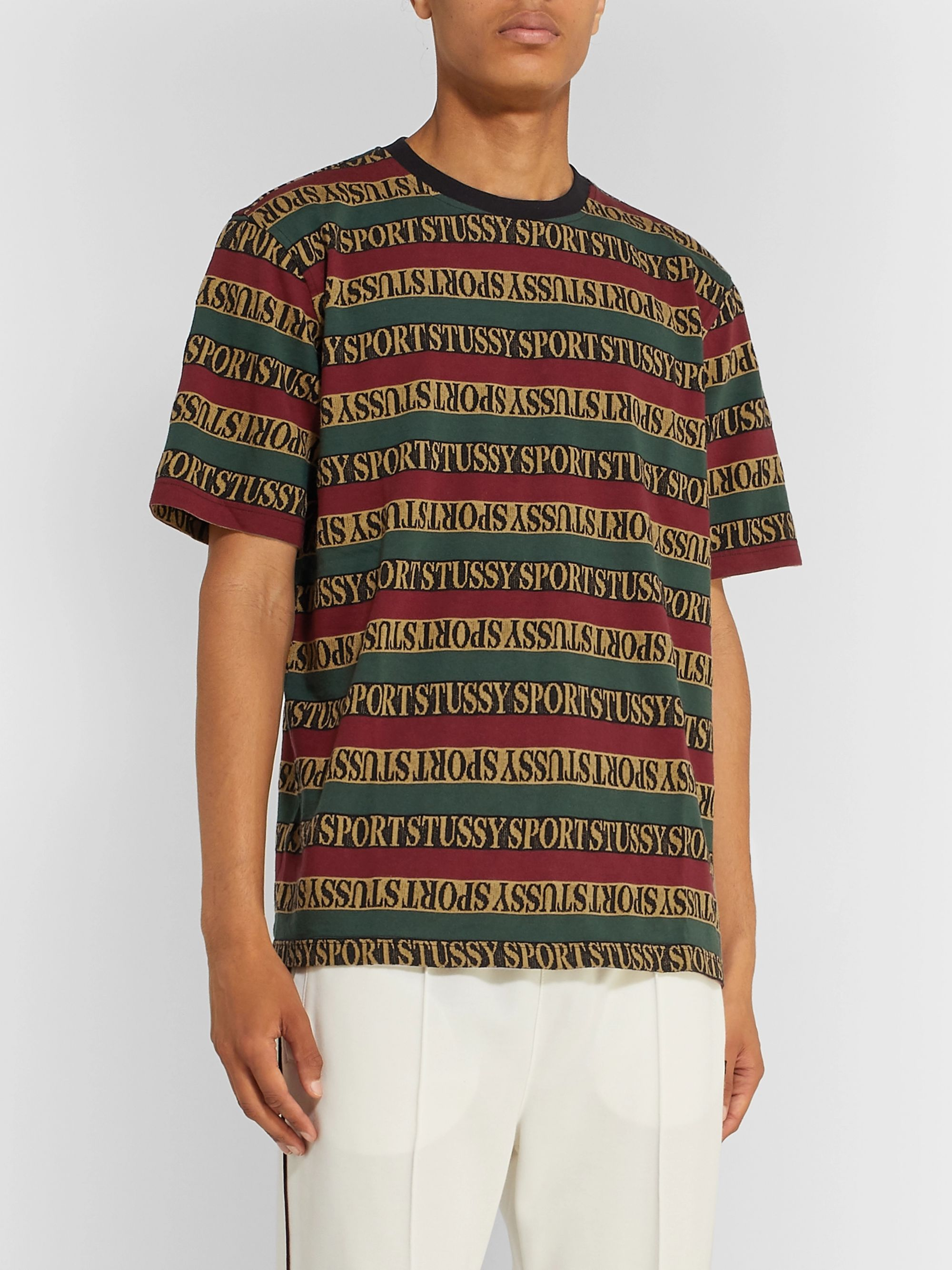 Stüssy Logo-Jacquard Striped Cotton T-Shirt