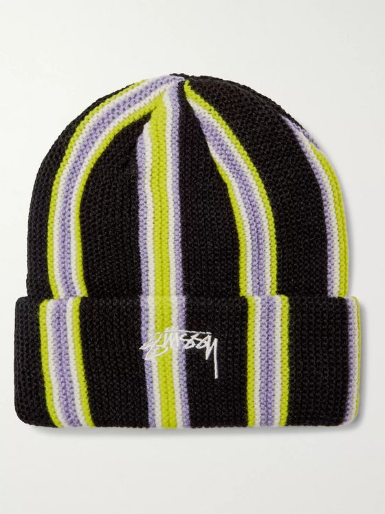 Stüssy Logo-Embroidered Striped Knitted Beanie