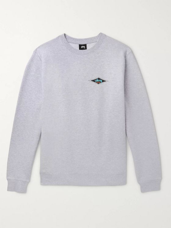 Stüssy Printed Mélange Fleece-Back Cotton-Blend Jersey Sweatshirt
