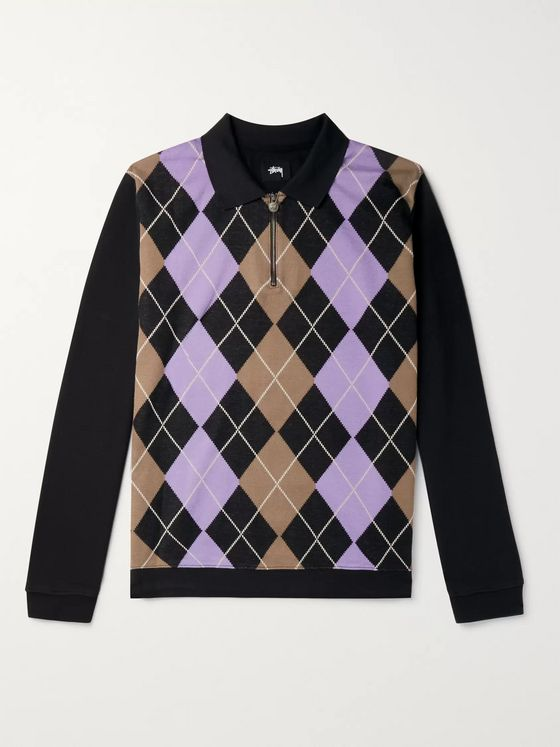 Stüssy Argyle Cotton Half-Zip Sweatshirt