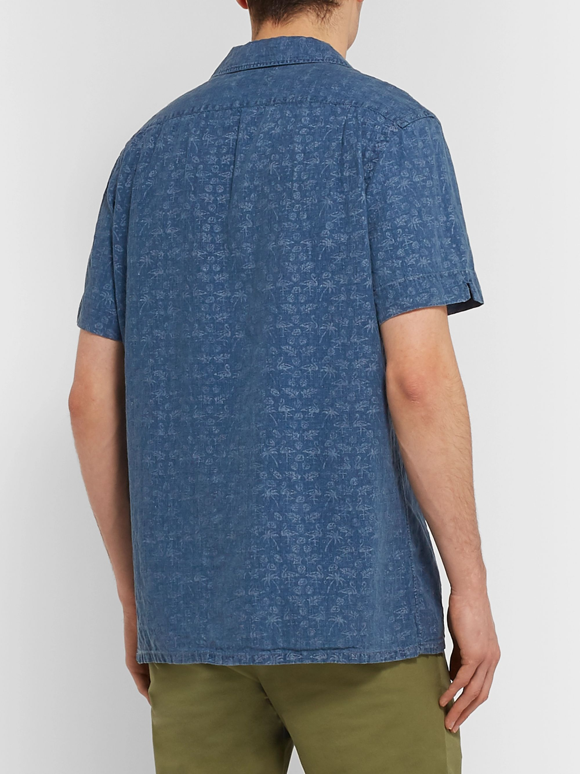 Polo Ralph Lauren Camp-Collar Overdyed Printed Linen Shirt