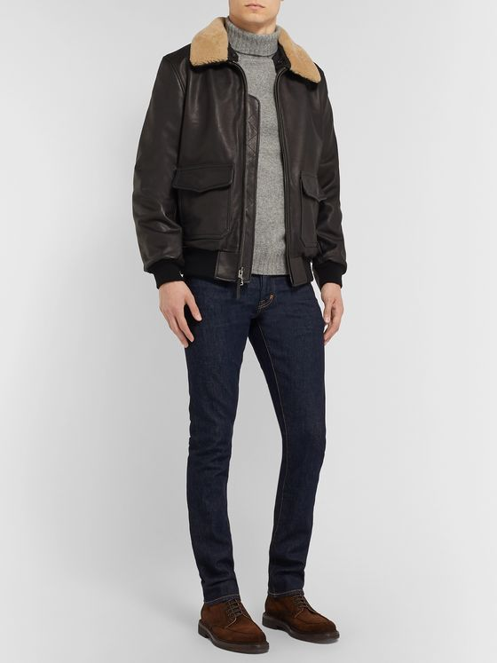 Golden Bear The Carter Shearling-Trimmed Full-Grain Leather Bomber Jacket
