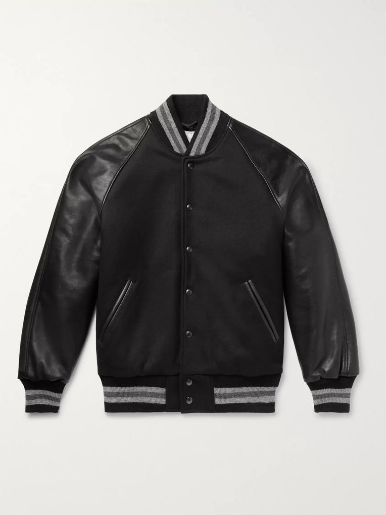 Golden Bear The Ralston Wool-Blend and Leather Bomber Jacket