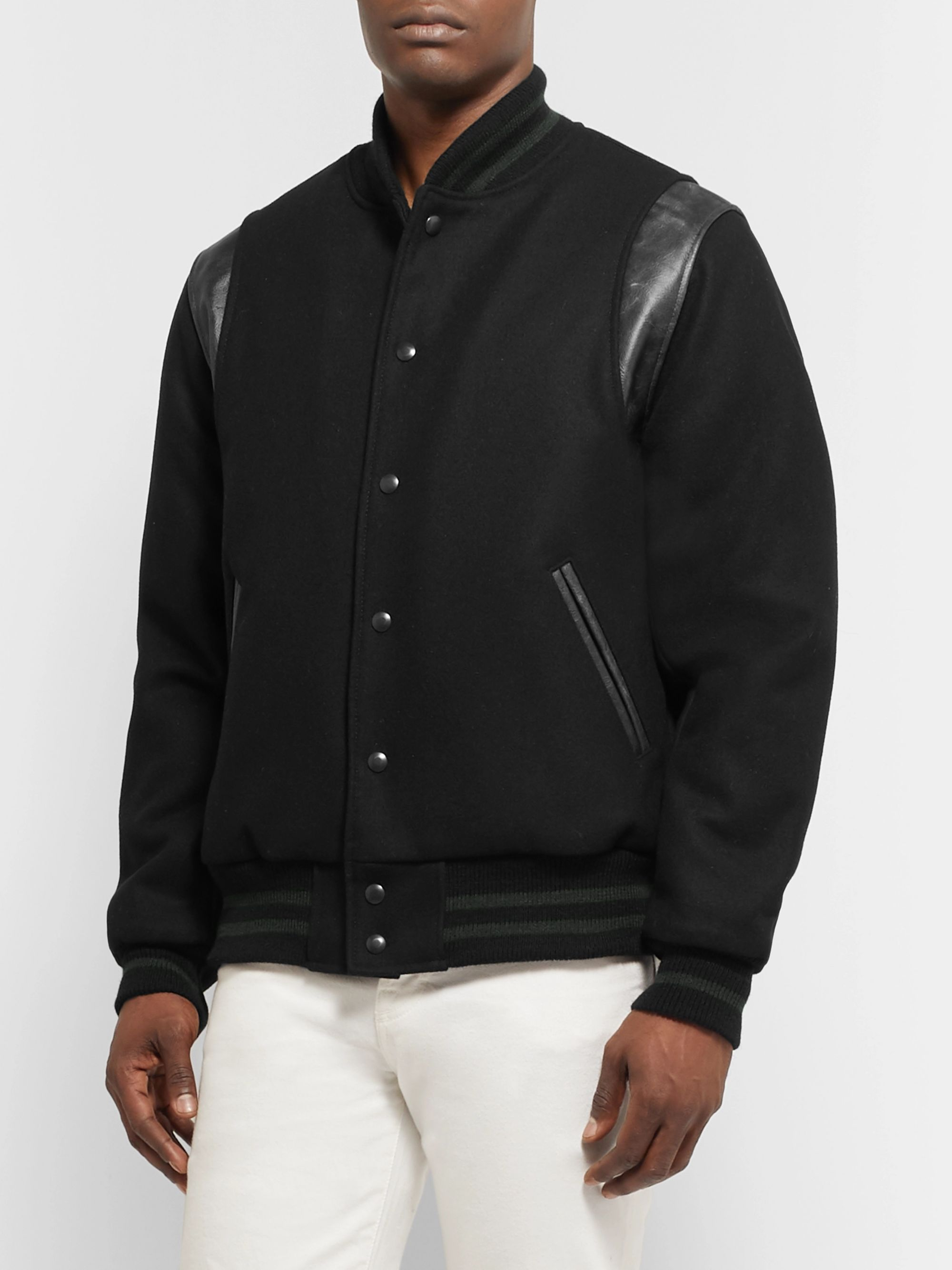 Golden Bear Hayes Leather-Panelled Melton Virgin Wool-Blend Bomber Jacket