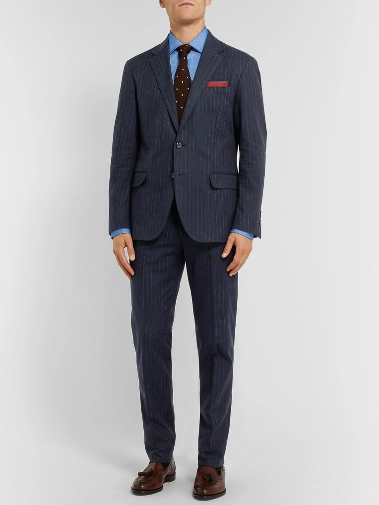 Polo Ralph Lauren Navy Slim-Fit Pinstriped Stretch Cotton and Wool-Blend Suit Trousers