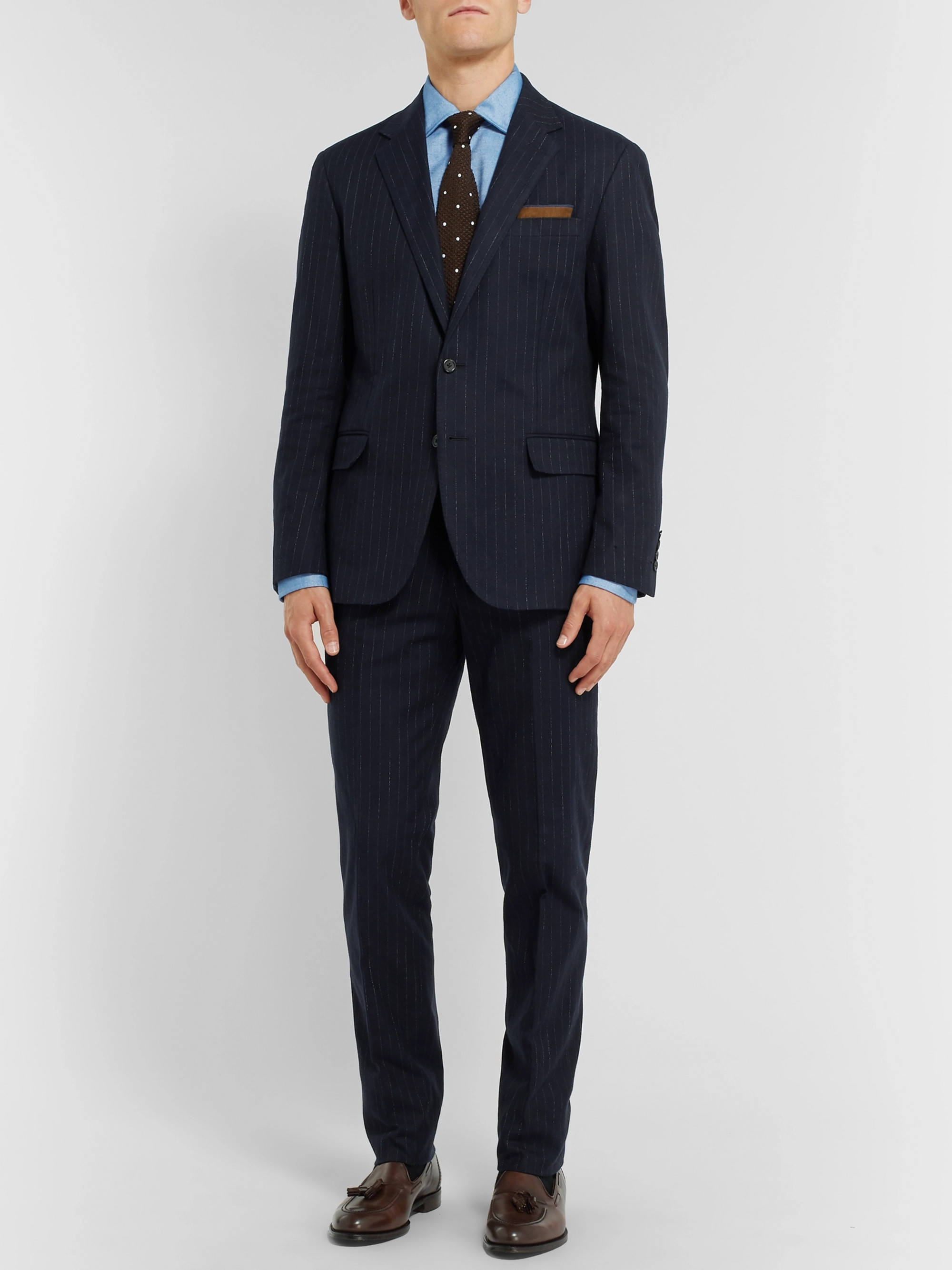 Polo Ralph Lauren Navy Slim-Fit Pinstriped Stretch Cotton and Wool-Blend Suit Jacket