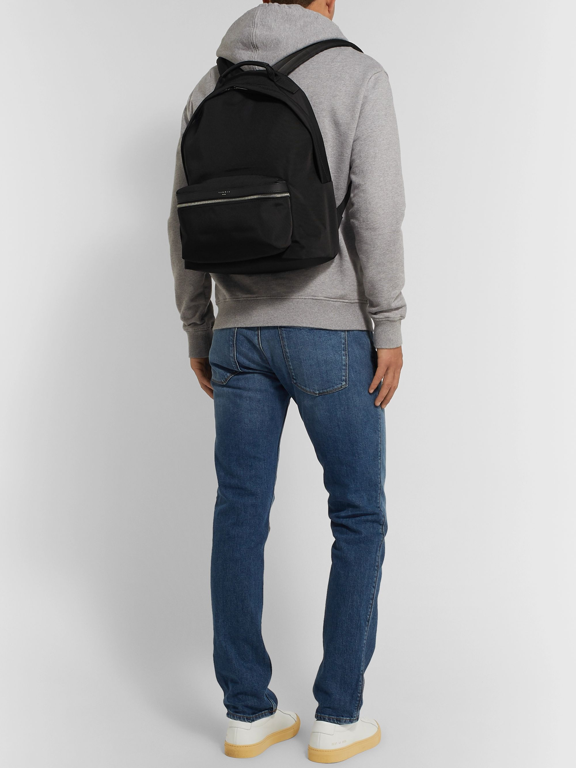 Sandro Leather-Trimmed Ballistic Nylon Backpack