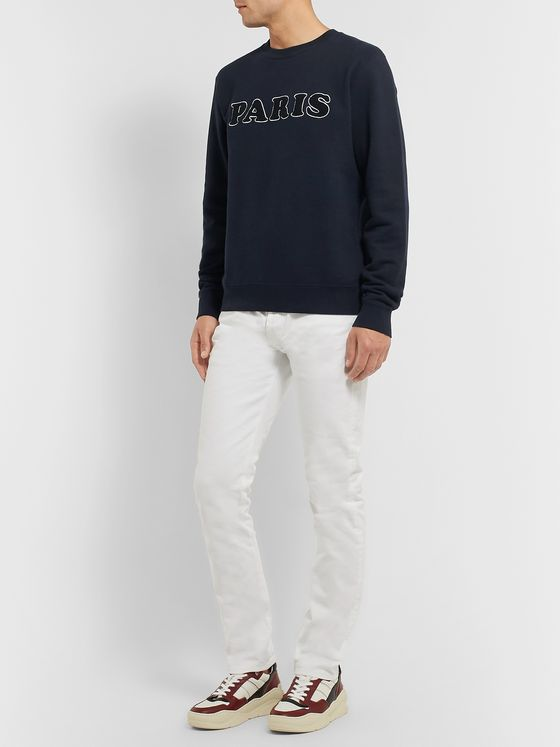 Sandro Slim-Fit Logo-Appliquéd Fleece-Back Cotton-Jersey Sweatshirt
