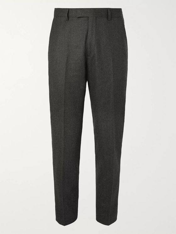 Sandro Grey Tapered Wool-Flannel Trousers