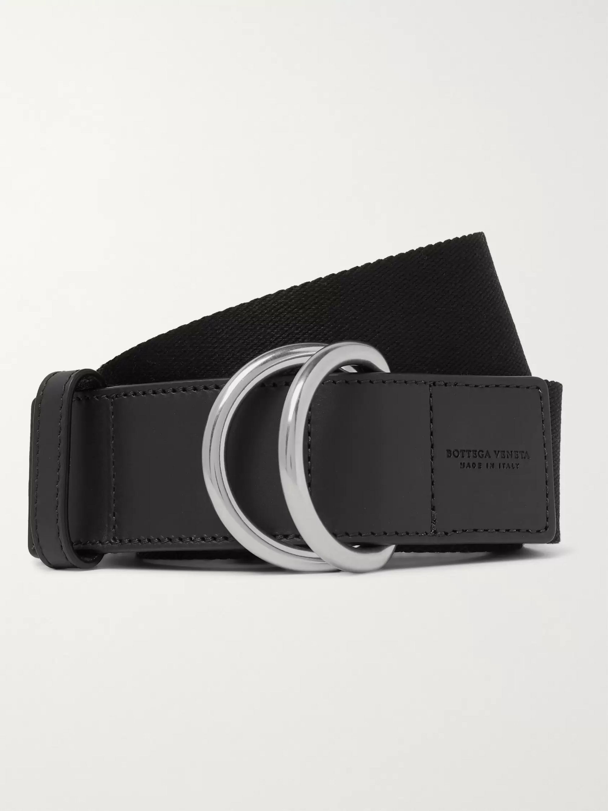 4cm Black Canvas And Leather Belt