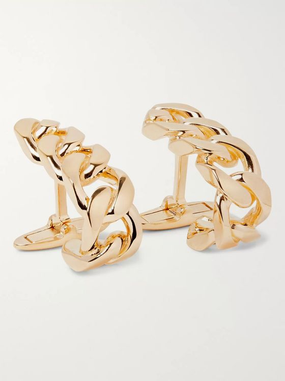 Bottega Veneta 18-Karat Gold-Plated Cufflinks