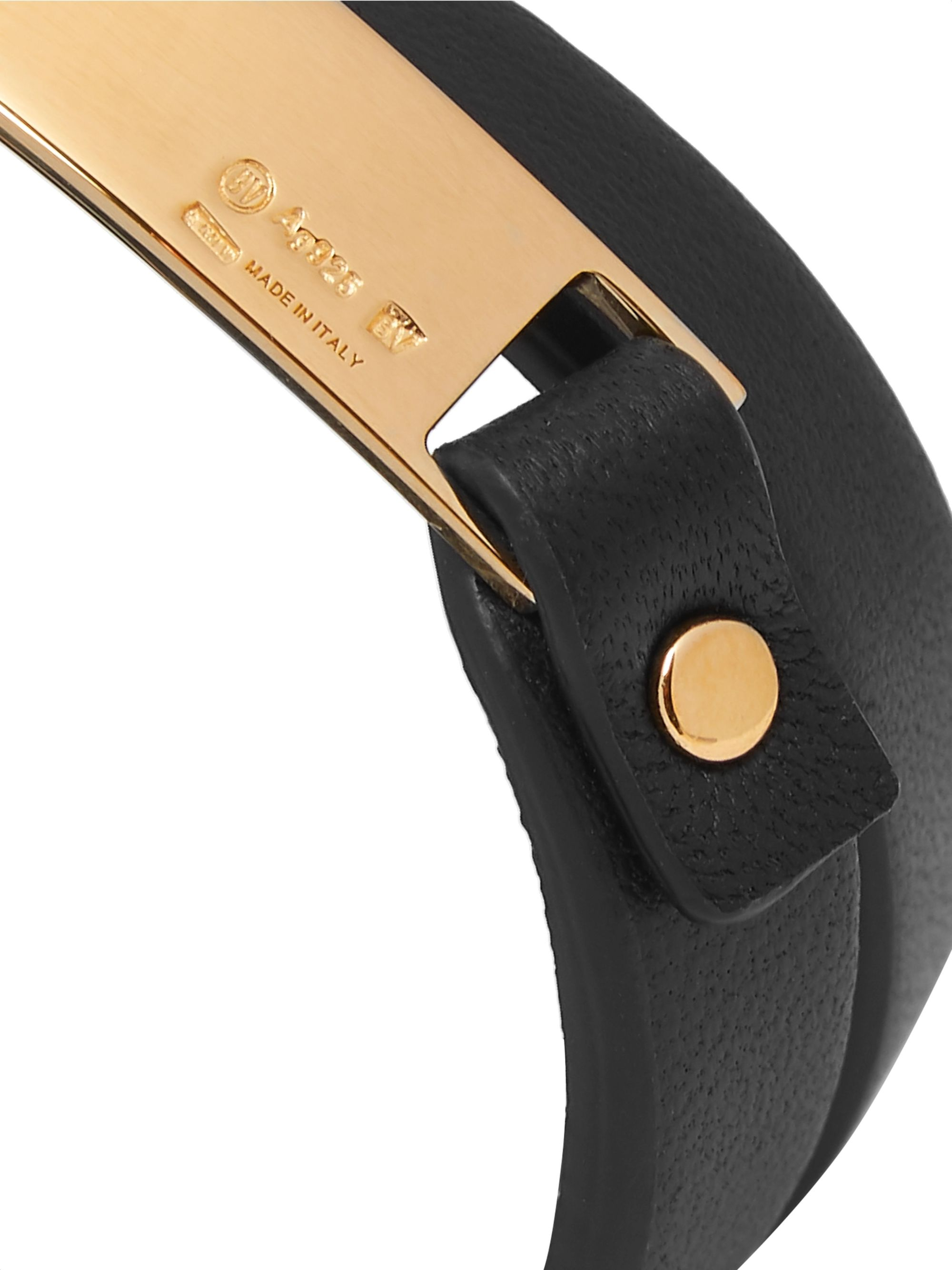 Bottega Veneta Gold-plated and Leather Wrap Bracelet
