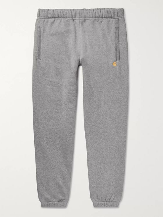 Carhartt WIP Tapered Logo-Embroidered Mélange Fleece-Back Jersey Sweatpants