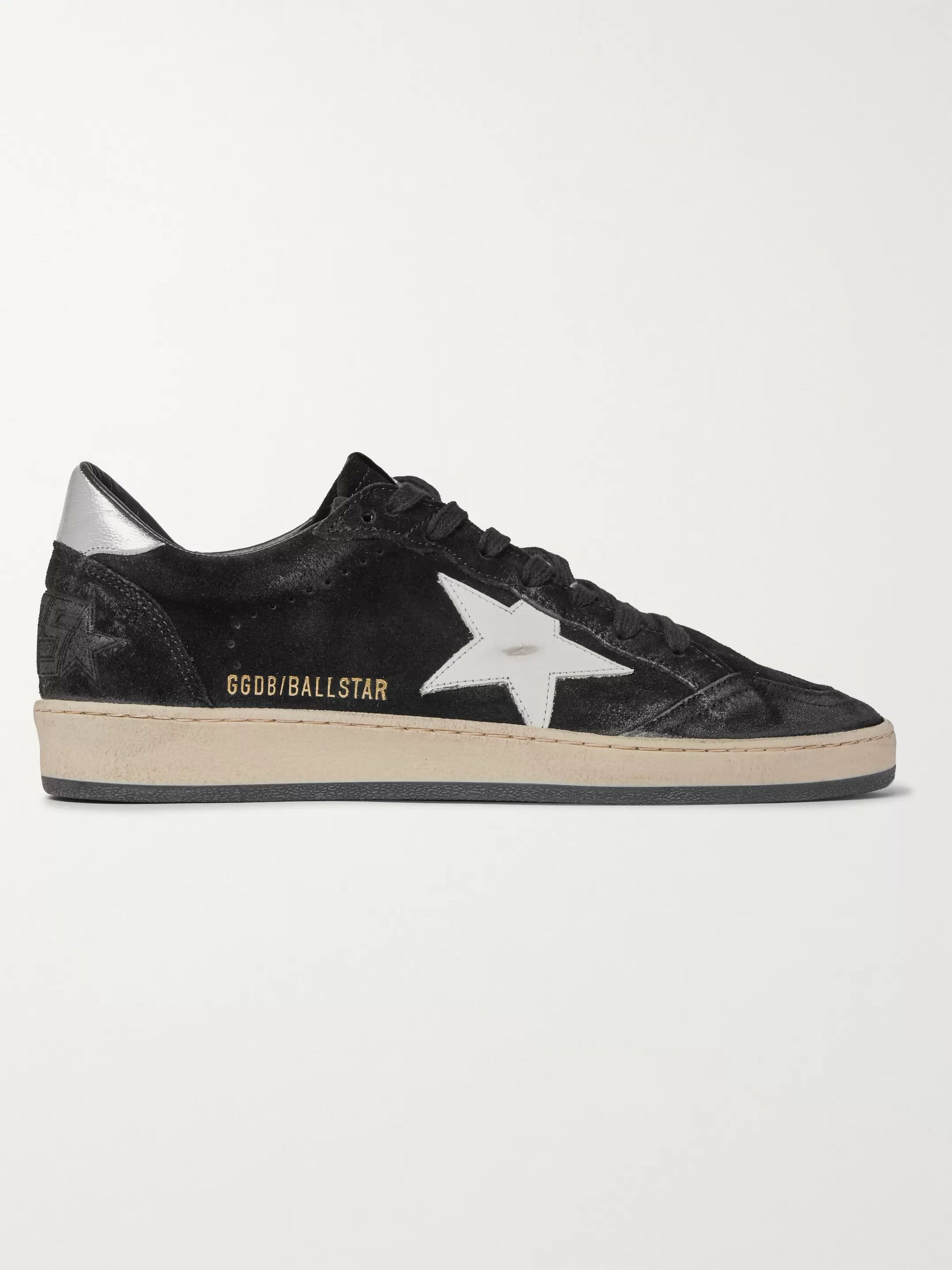 Golden Goose Ball Star Distressed Suede and Leather Sneakers