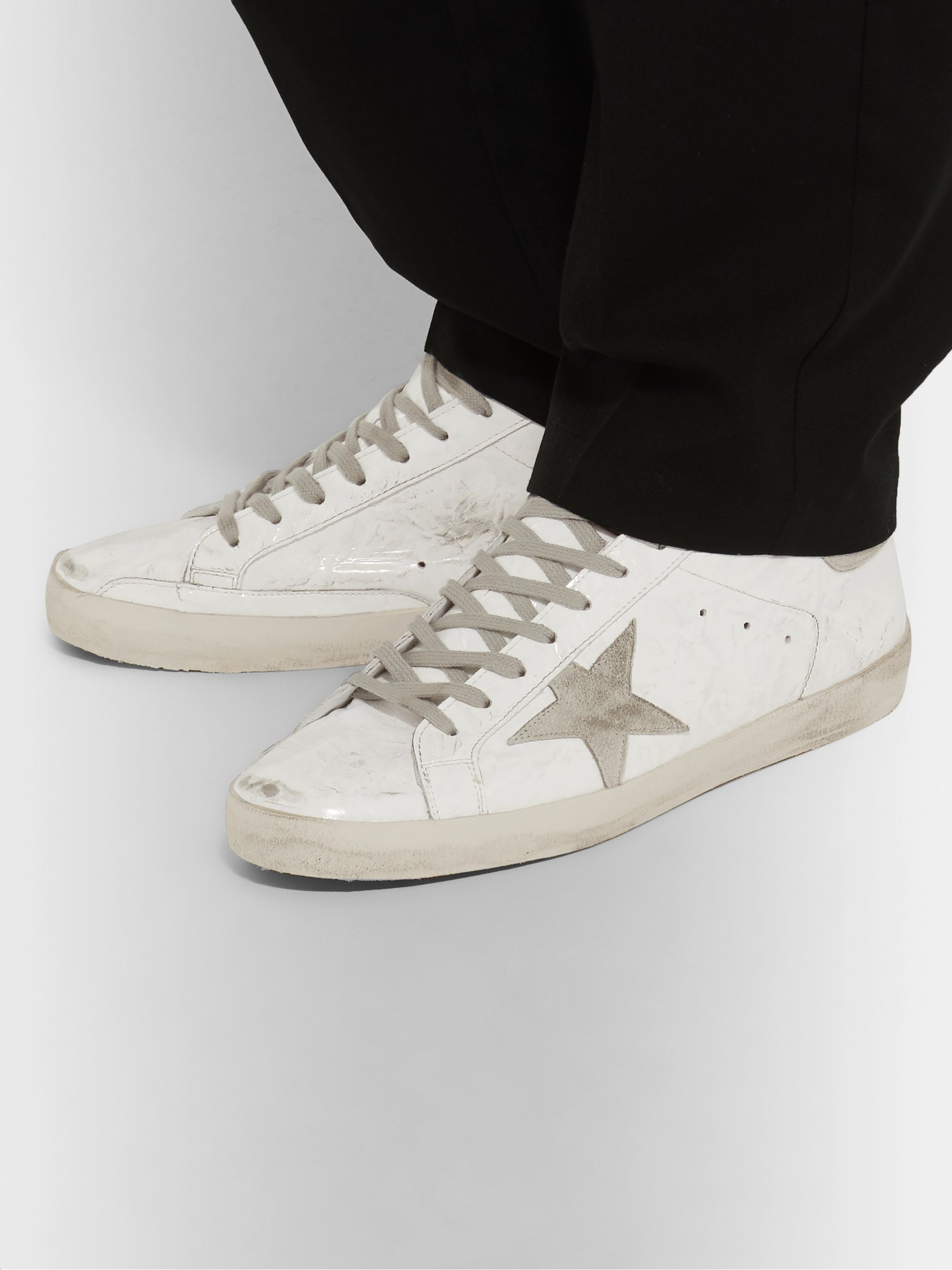 Superstar Distressed Patent Leather and Suede Sneakers