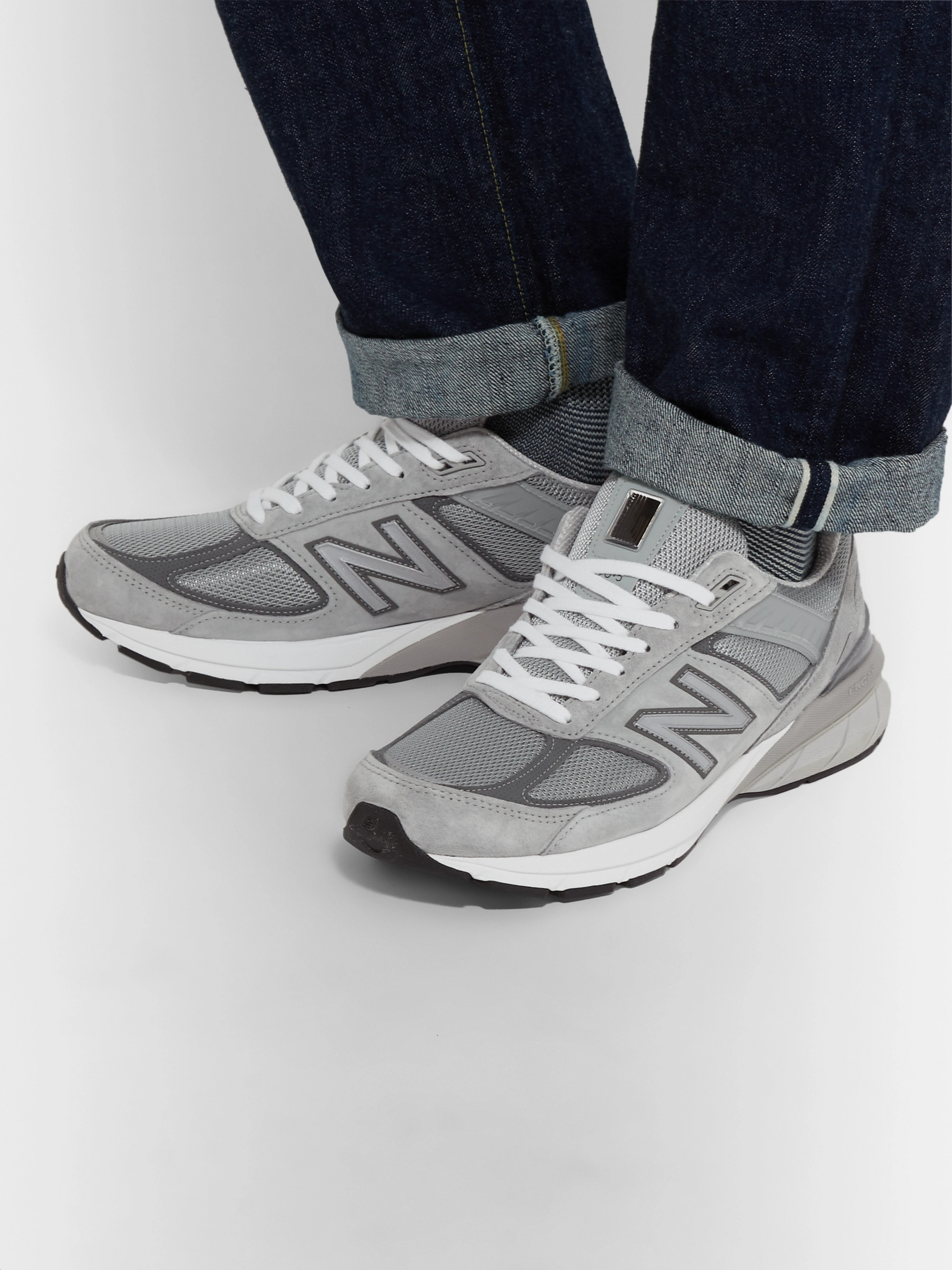931b093eb9e23 Gray 990 V5 Suede and Mesh Sneakers | New Balance | MR PORTER