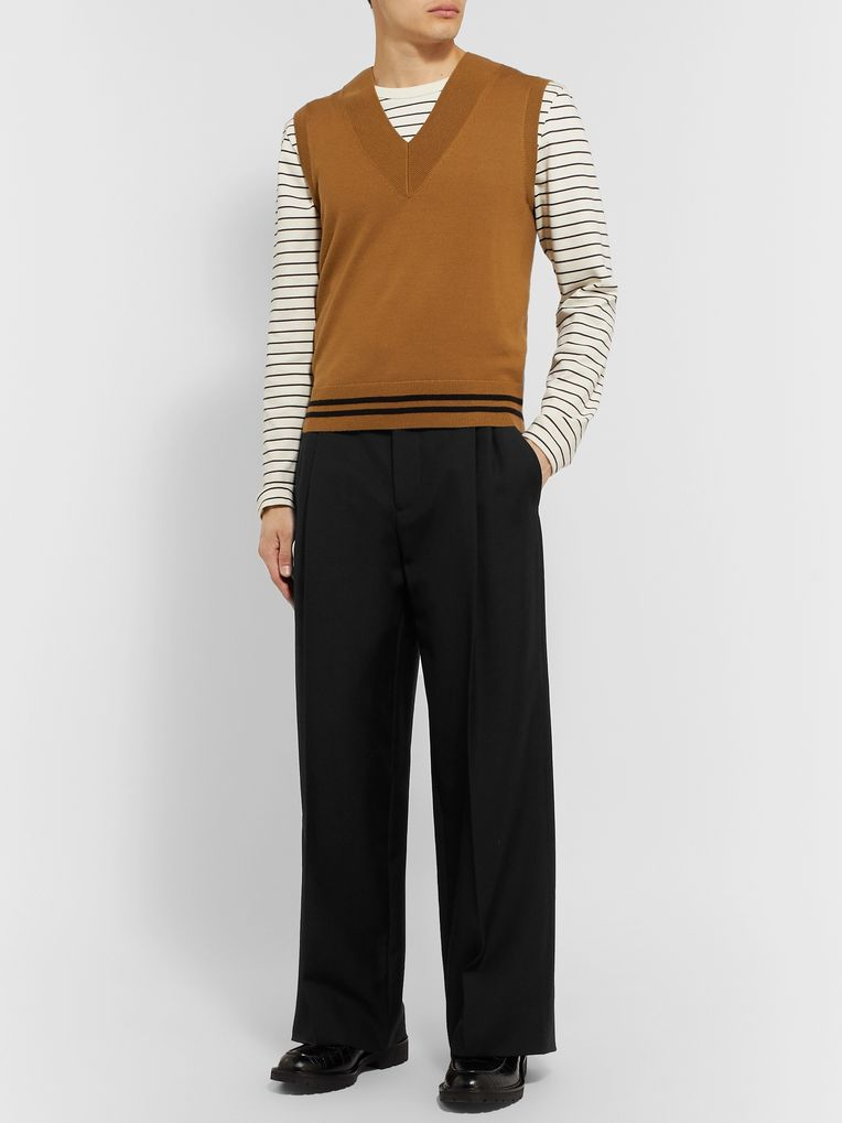 Loewe Black Wide-Leg Pleated Wool-Twill Trousers