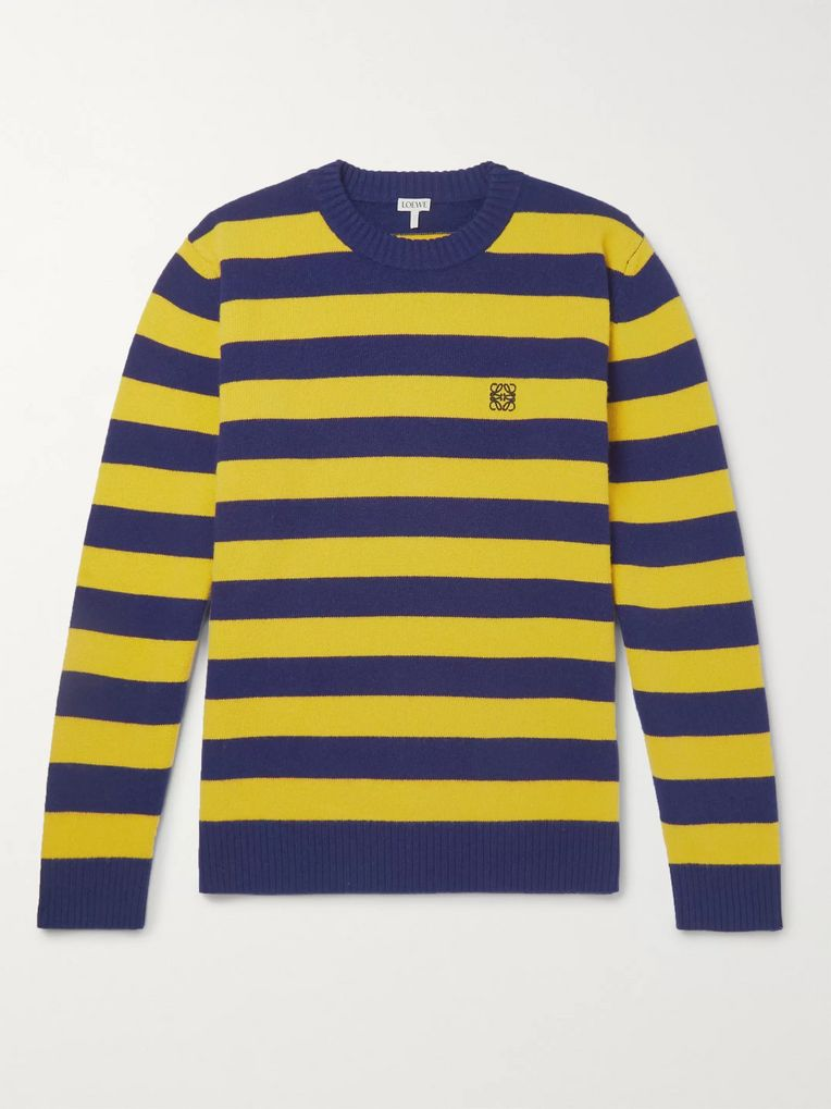Loewe Logo-Embroidered Striped Wool and Cashmere-Blend Sweater