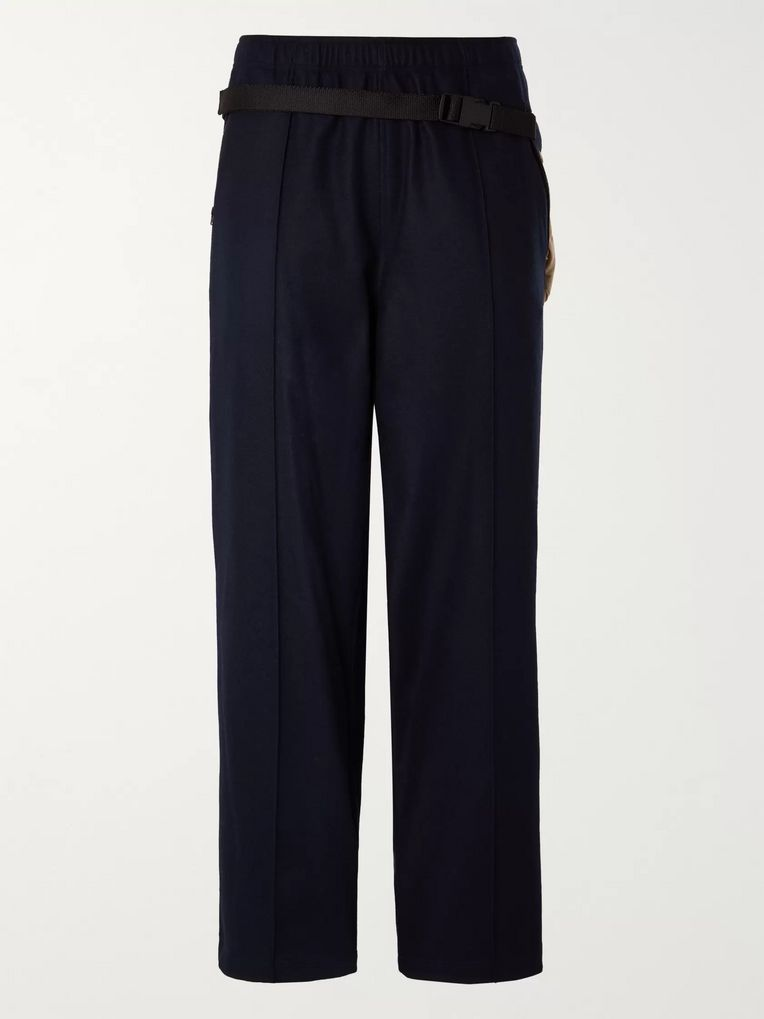 Maison Margiela Navy Wide-Leg Virgin Wool Trousers with Detachable Shell Belt Bag