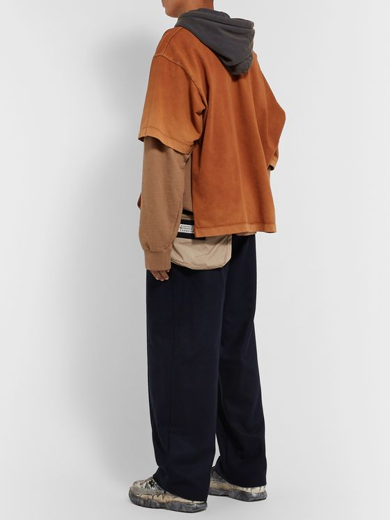 Maison Margiela Navy Wide-Leg Virgin Wool Trousers with Shell Belt Bag