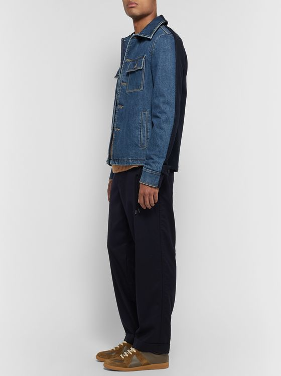 Maison Margiela Panelled Denim and Wool-Blend Jacket