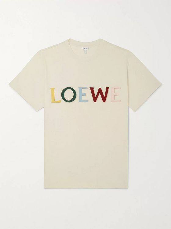 Loewe Logo-Appliquéd Cotton And Silk-Blend Jersey T-shirt
