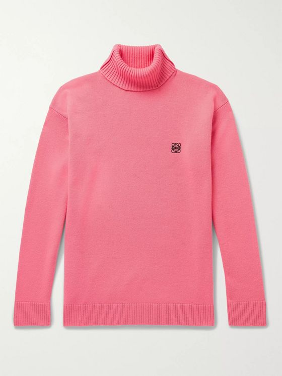 Loewe Logo-Embroidered Wool Rollneck Sweater
