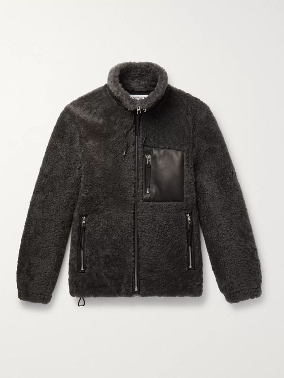 Loewe Leather-Trimmed Shearling Jacket
