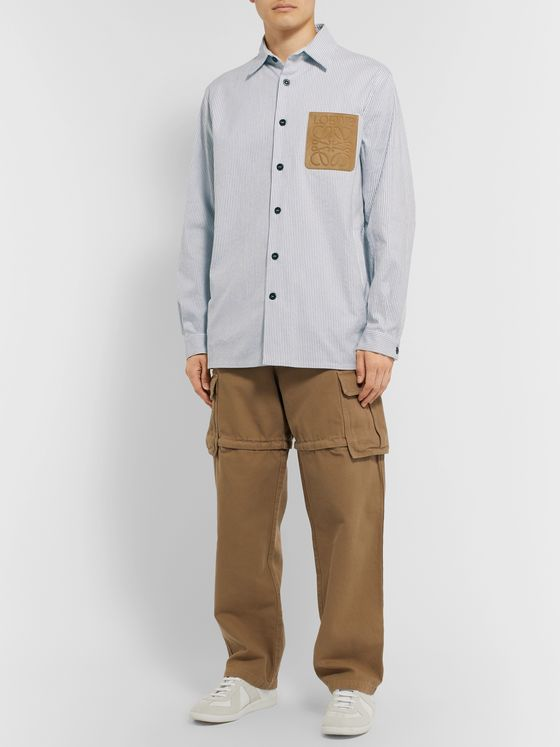Loewe Suede-Trimmed Striped Cotton-Blend Canvas Overshirt