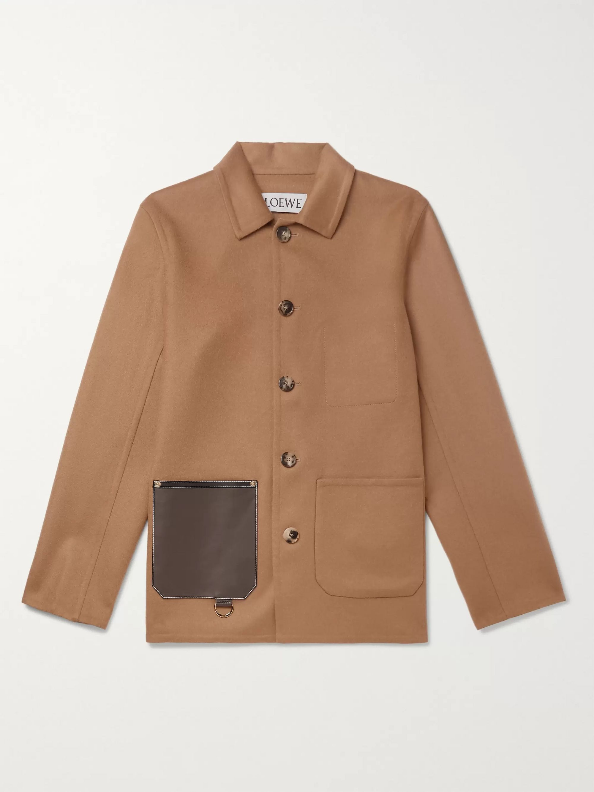 Leather-Trimmed Wool and Cashmere-Blend Overshirt