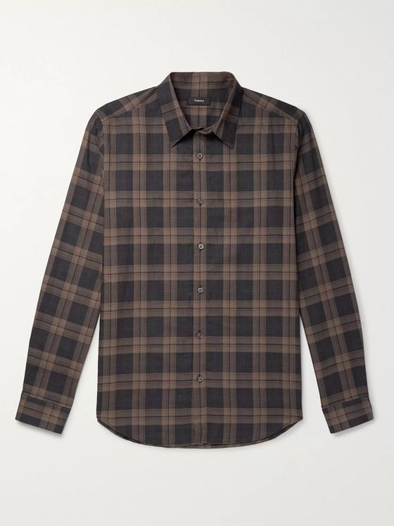 Theory Checked Cotton Shirt