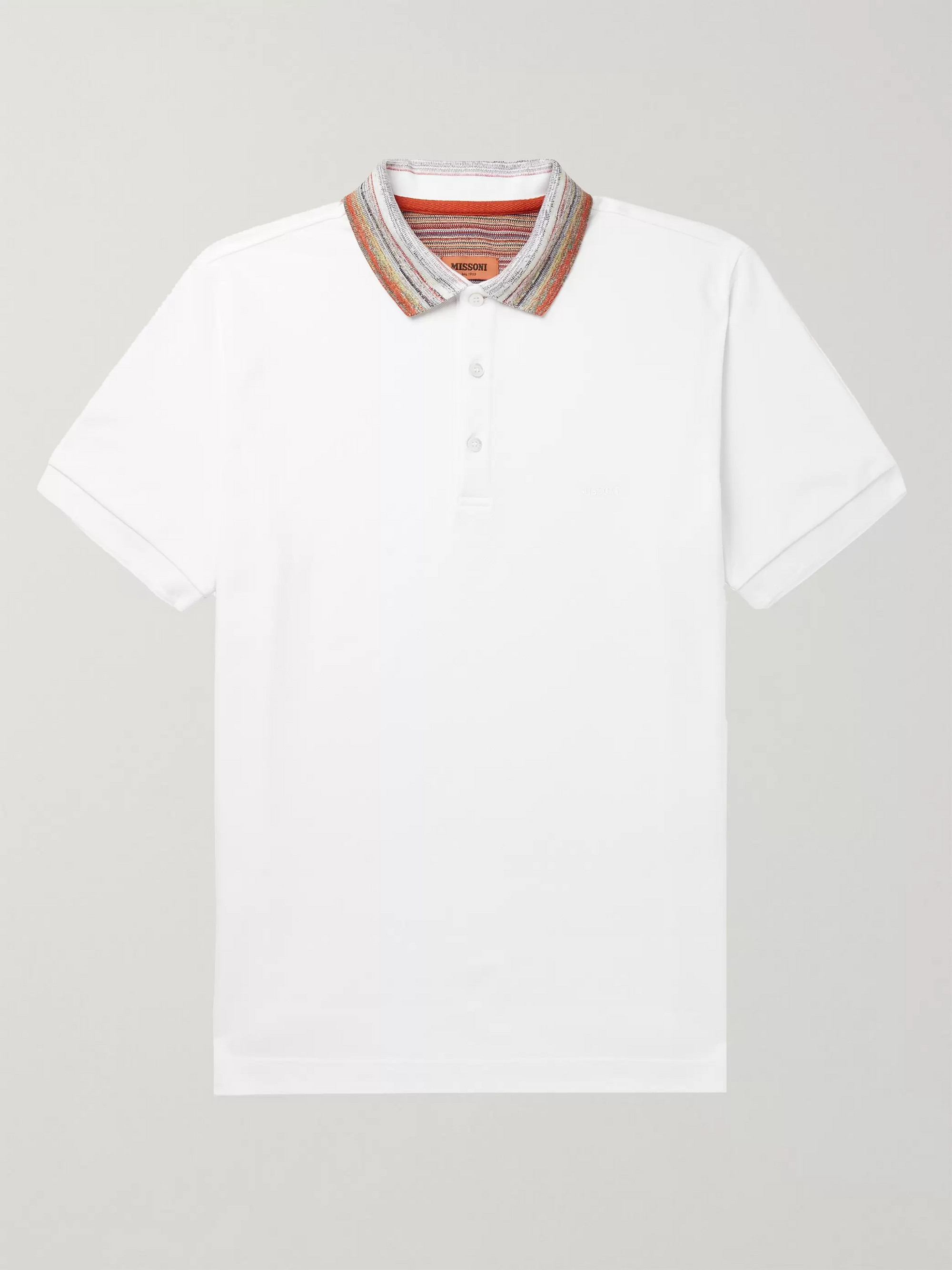 Missoni Stripe-Trimmed Cotton-Piqué Polo Shirt