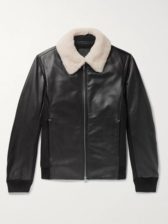 Theory Slim-Fit Shearling-Trimmed Leather and Wool-Blend Bomber Jacket