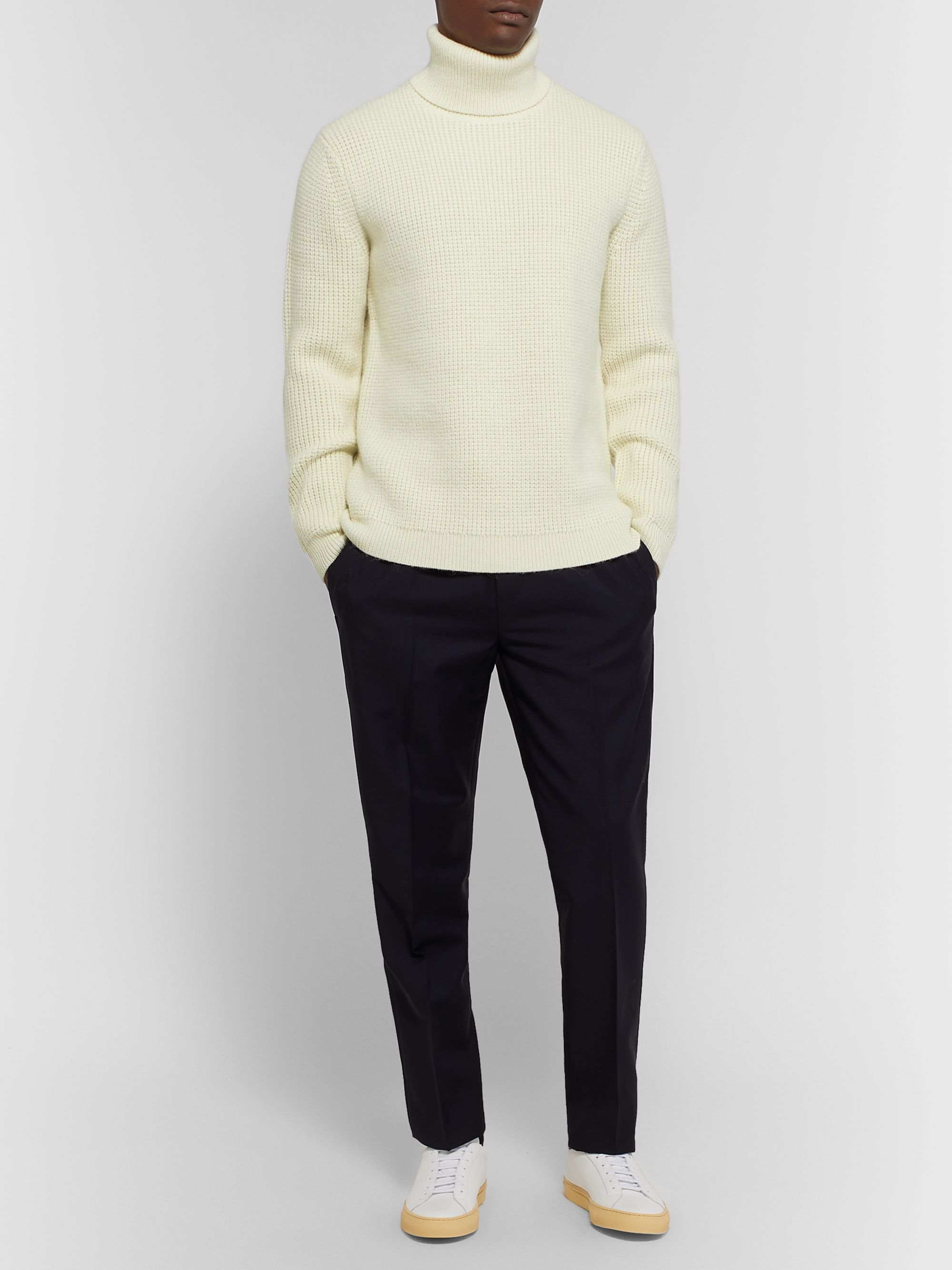 Theory Textured-Knit Wool and Alpaca-Blend Rollneck Sweater