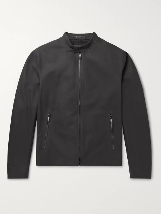 Theory Wyndsor Slim-Fit Matte-Leather Moto Jacket