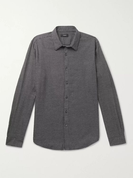 Theory Irving Houndstooth Cotton Shirt