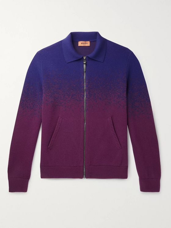 Missoni Dégradé Wool-Blend Zip-Up Cardigan