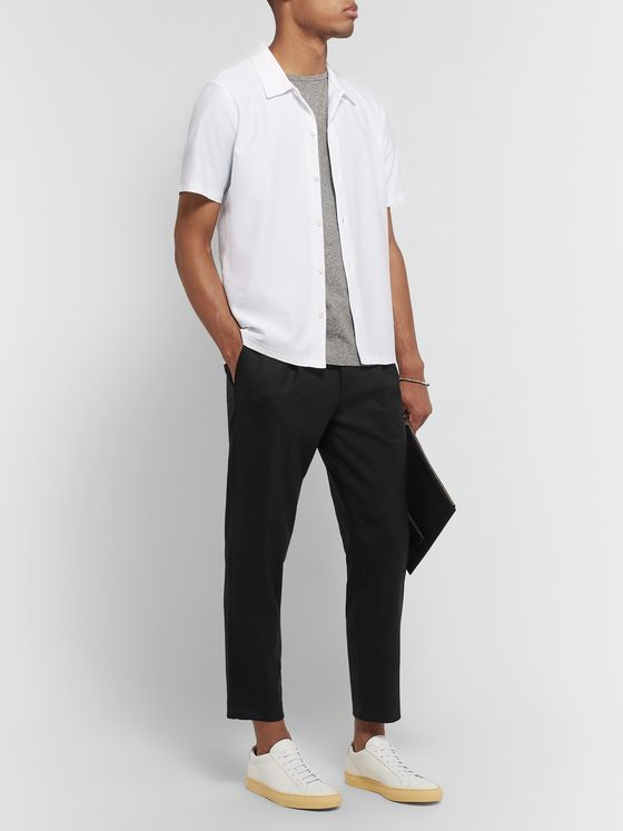 Theory Black Page Tapered Pleated Stretch-Wool Trousers