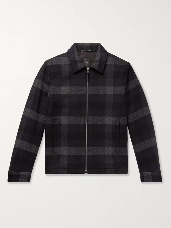 Theory Wyatt Checked Wool-Blend Jacket