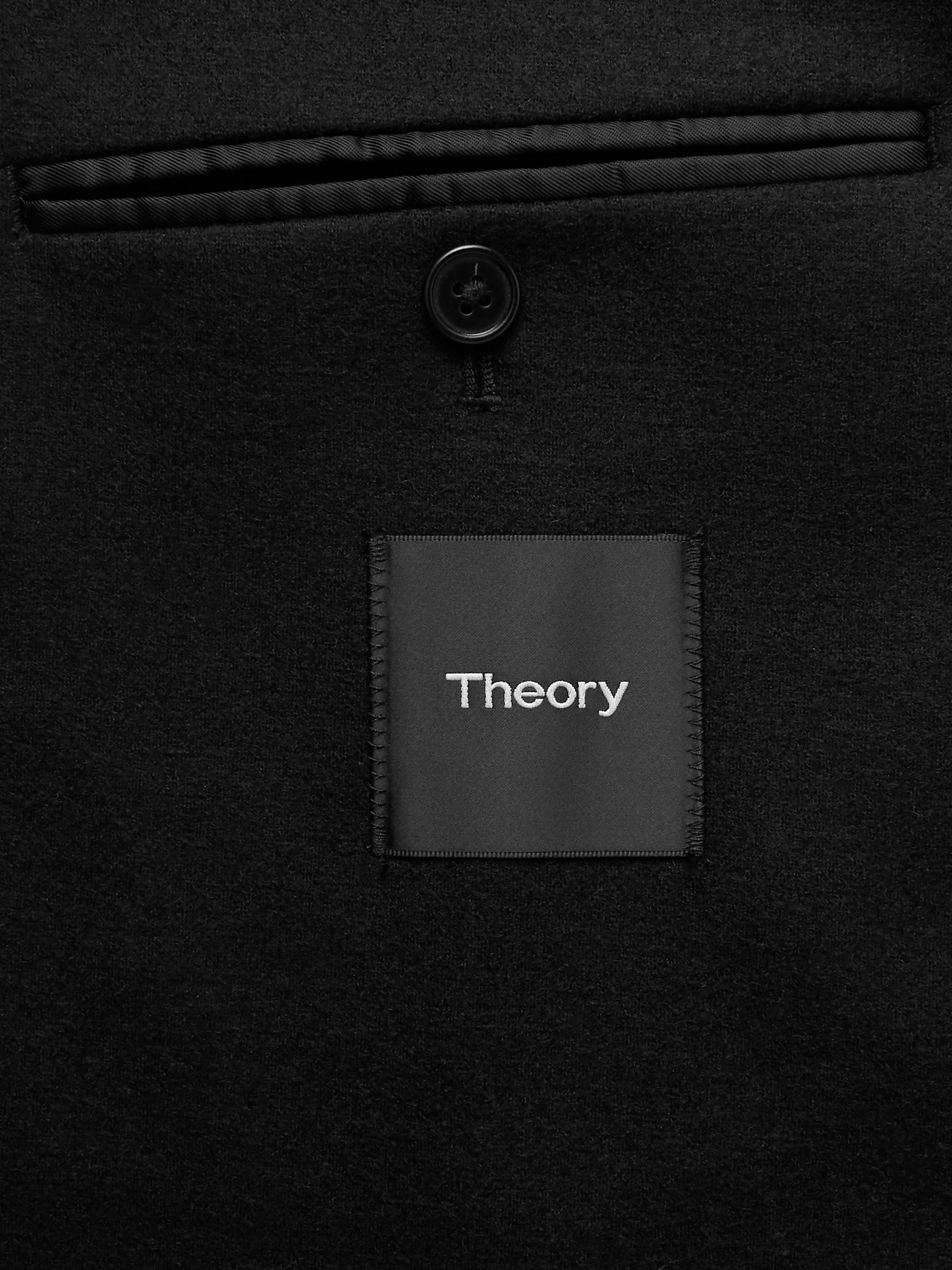 Theory Black Unstructured Stretch Wool-Blend Blazer