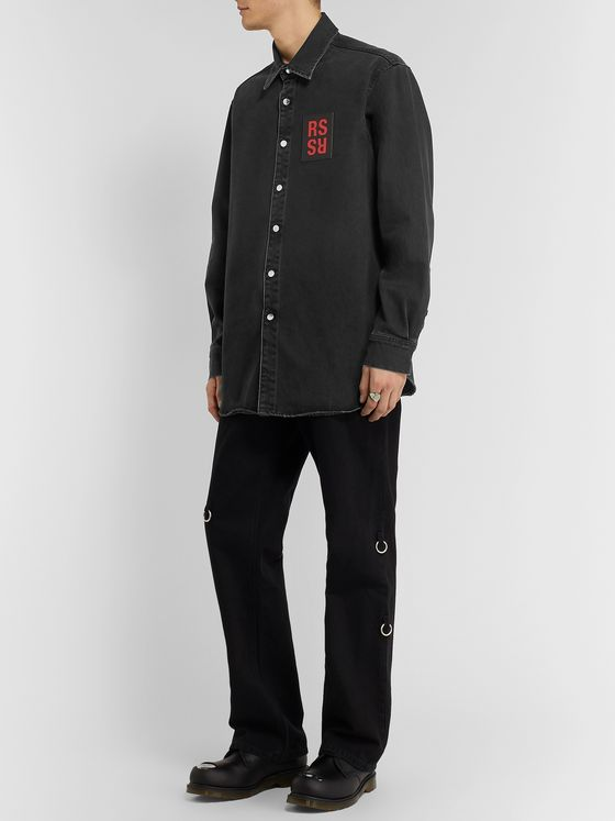 Raf Simons Logo-Appliquéd Denim Shirt