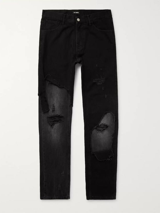 Raf Simons Slim-Fit Panelled Distressed Denim Jeans