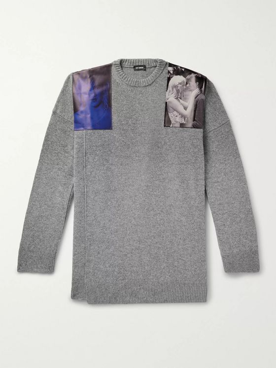 Raf Simons Oversized Embellished Mélange Virgin Wool Sweater